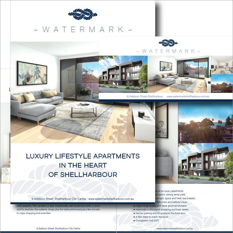 ZANG Media • graphic design & printing project for Watermark Real Estate Development, Shellharbour