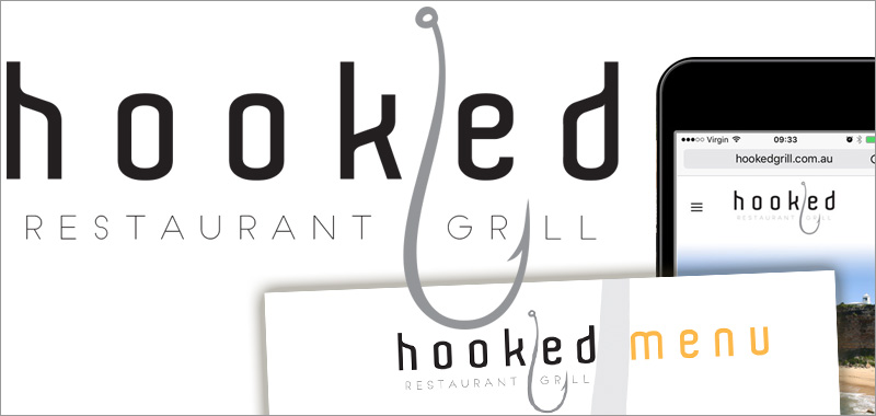 Grimmel. • web design, graphic design, logo design project for hooked grill restaurant Newcastle Harbour